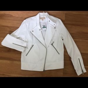White Stretch Michael  Kors Moto Jacket Large